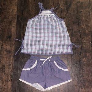 Well dressed Wolf purple plaid tunic set 5T
